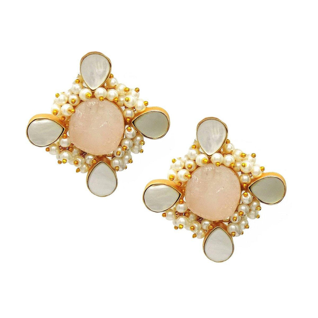 Azalea Earrings in Rose Quartz & Pearl | Handcrafted Jewellery | Dori