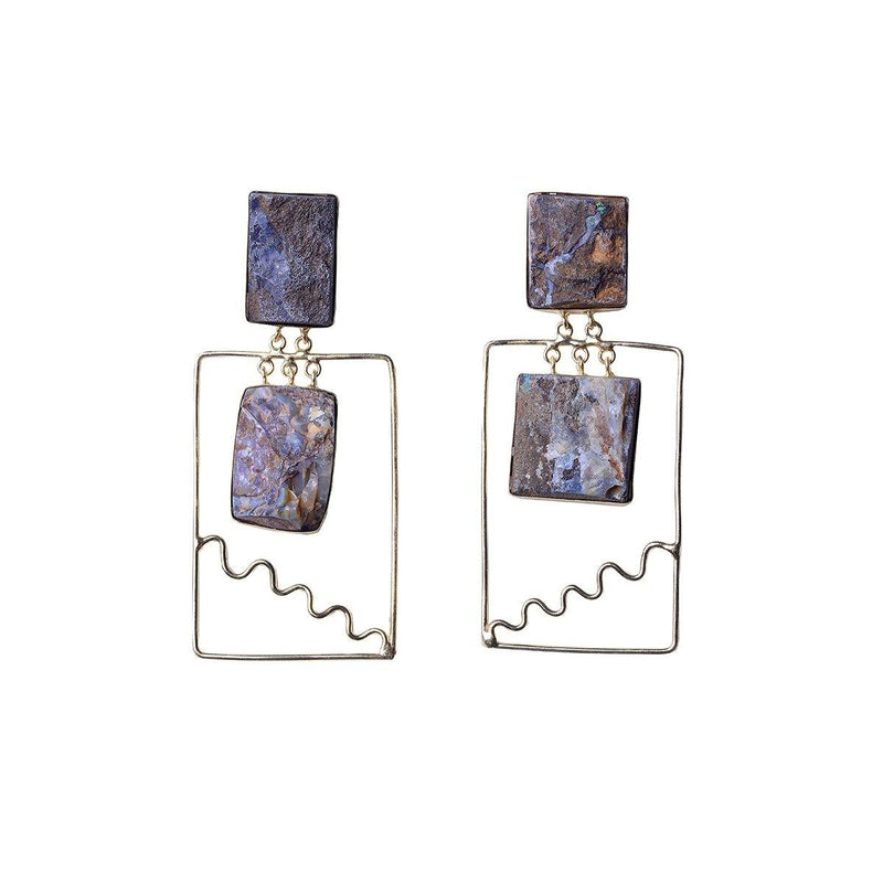 Boulder Square Earrings | Handcrafted Jewellery | Eurumme | Dori