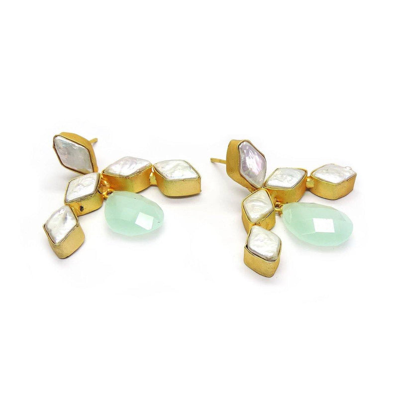 Breeze Earrings in Chalcedony & Pearl | Handcrafted Jewellery | Dori