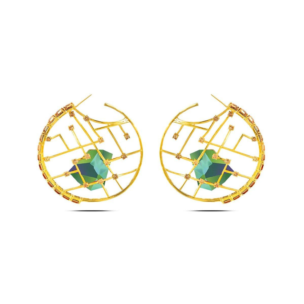 Cage Crystal Earrings in Forest | Handcrafted Jewellery | Esme Crystals | Dori