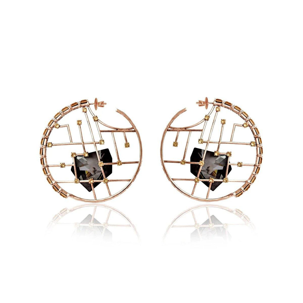 Cage Crystal Earrings in Shadow | Handcrafted Jewellery | Esme Crystals | Dori