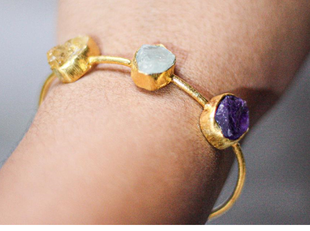 Gold Bracelet in Amethyst, Aquamarine & Citrine | Handcrafted Jewellery | Dori