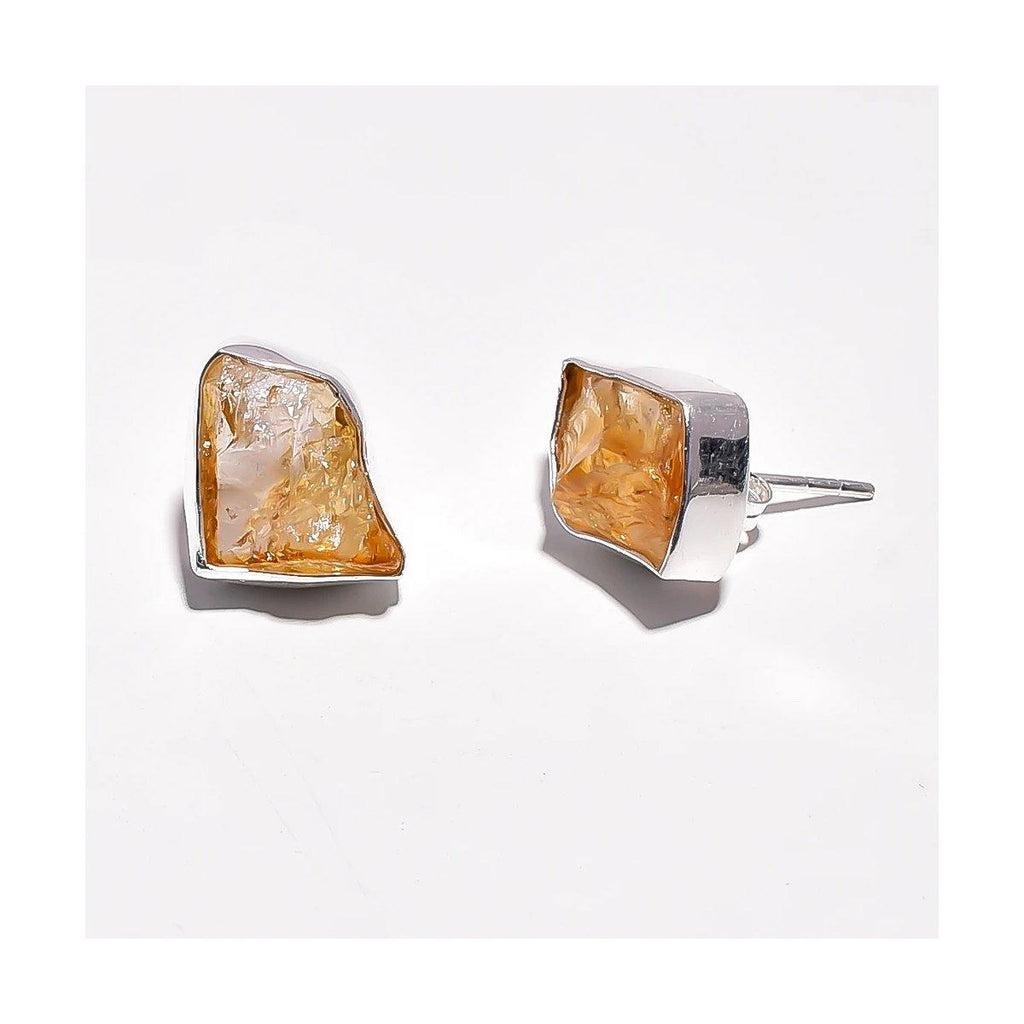 Citrine Stud Earrings | Handcrafted Jewellery | Dori