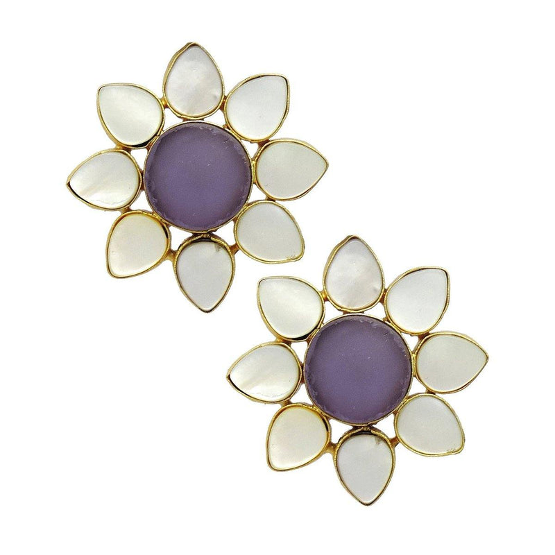 Classic Floral Earrings in Amethsyt | Handcrafted Jewellery | Dori