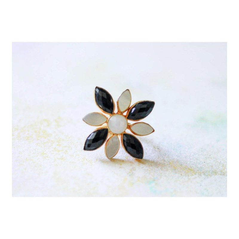 Classic Floral Ring in Moonstone & Onyx | Handcrafted Jewellery | Dori