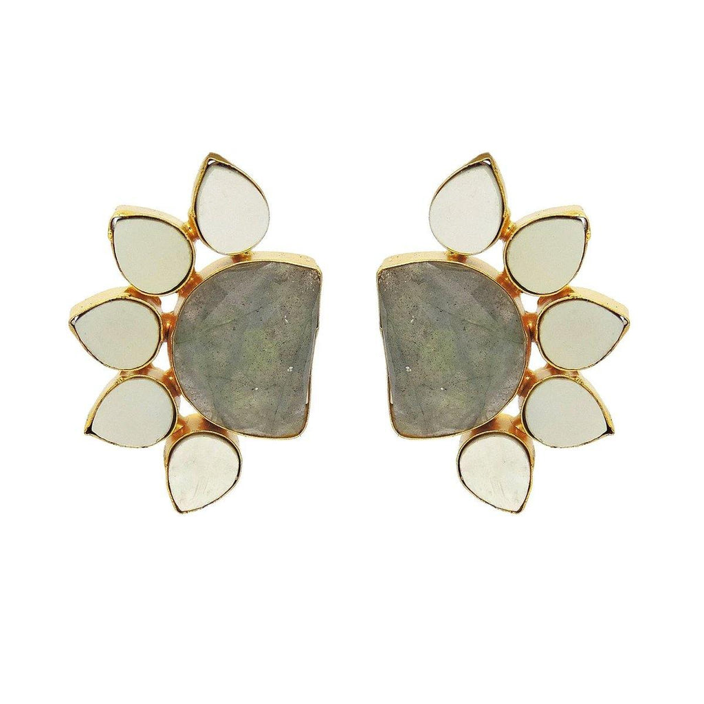 Crescent Flora Earrings in Labradorite & Pearl | Handcrafted Jewellery | Dori