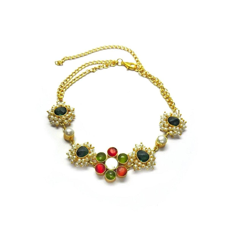 Crimson Flower Choker | Handcrafted Jewellery | Dori