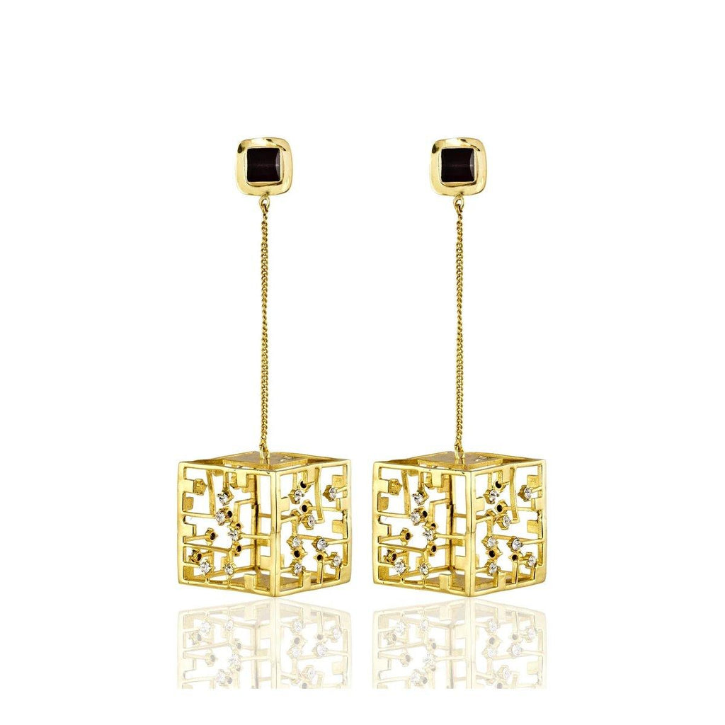 Cube Danglers in Gold | Handcrafted Jewellery | Esme Crystals | Dori