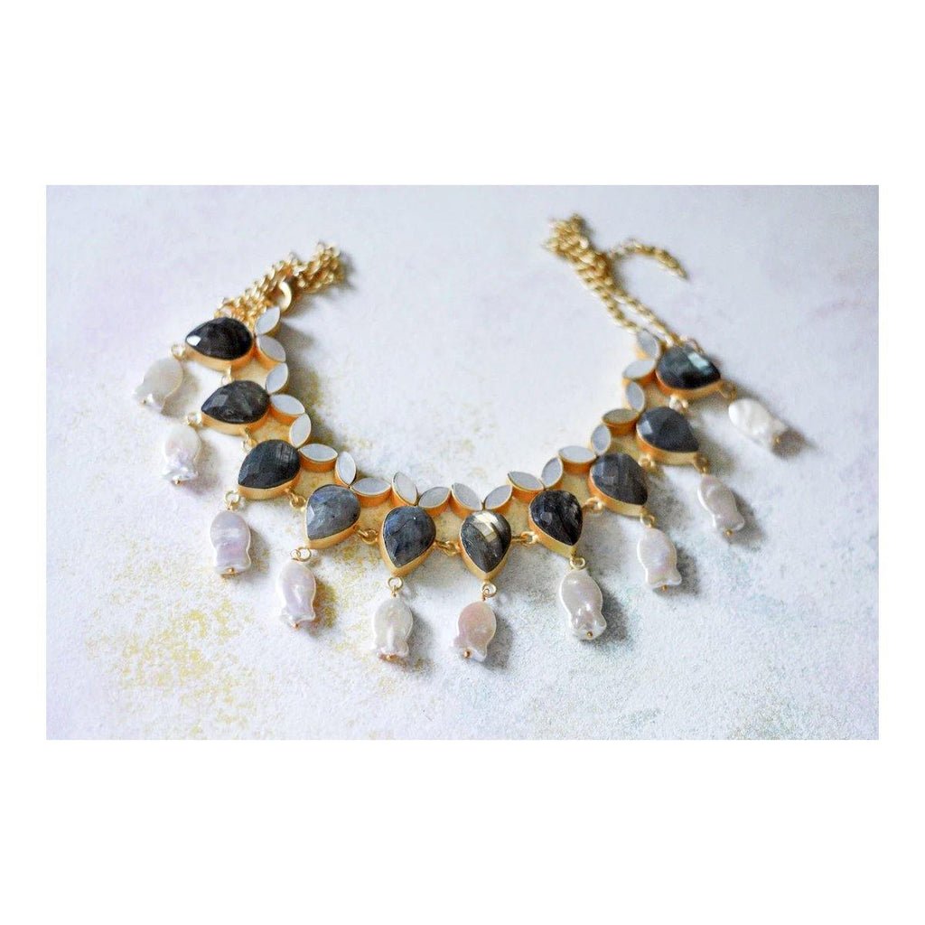 Dangle Choker in Labradorite & Pearl | Handcrafted Jewellery | Dori
