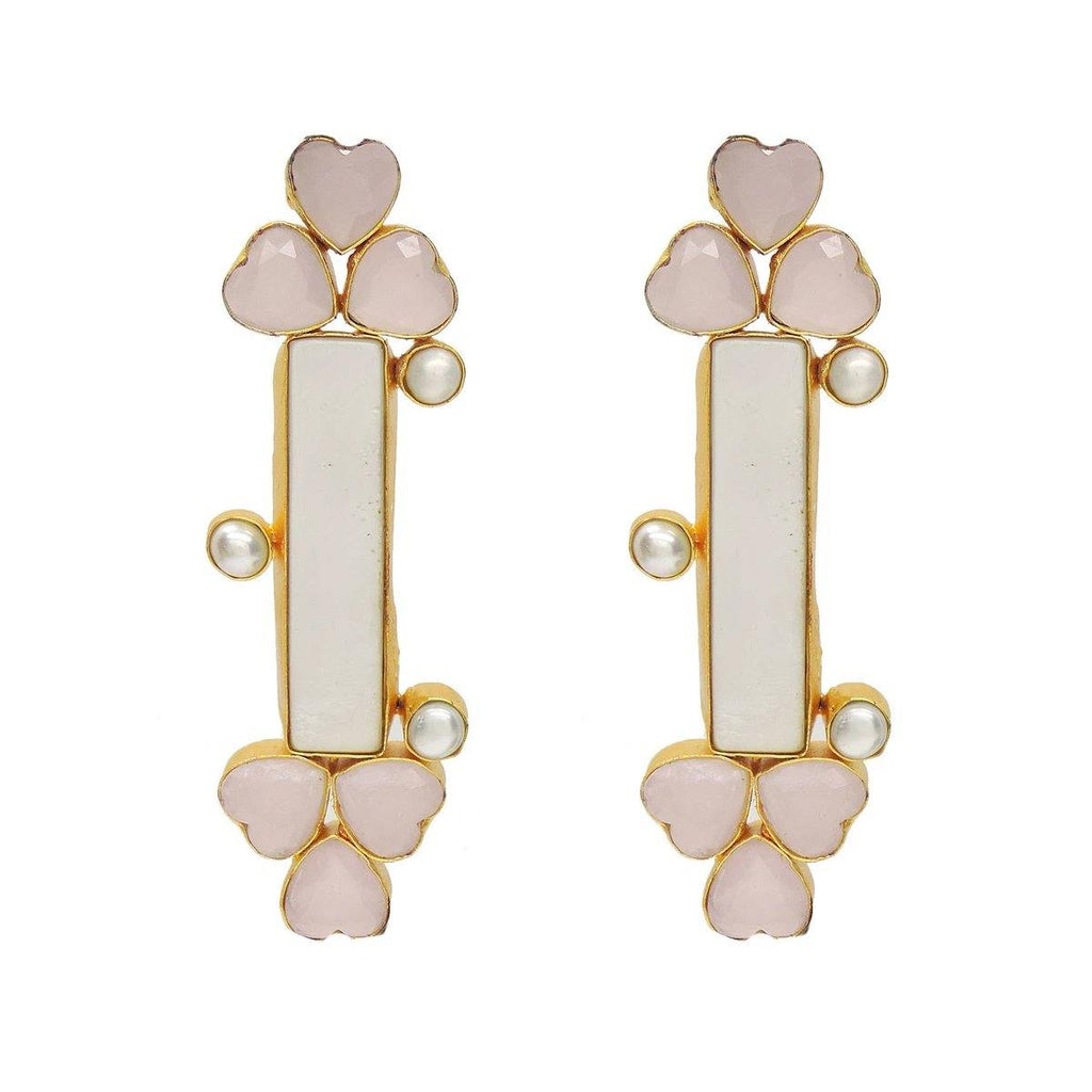 Dazzle Earrings in Rose Quartz & Pearl | Handcrafted Jewellery | Dori