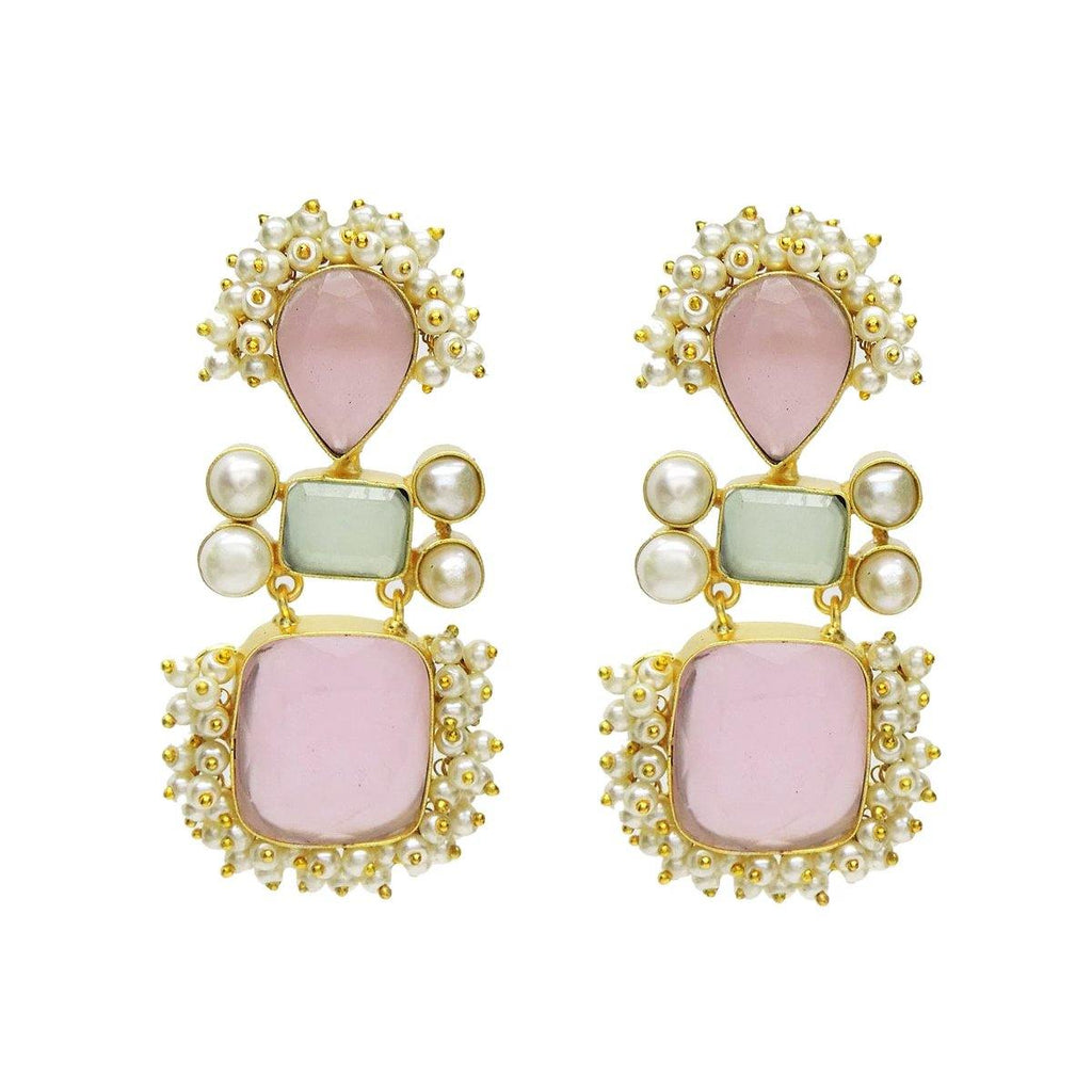 Delilah Earrings with Rose Quartz & Pearl | Handcrafted Jewellery | Dori