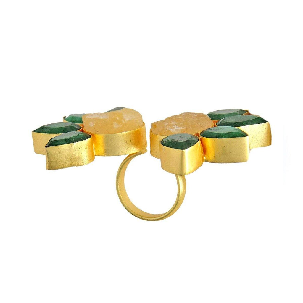 Double Floral Ring in Citrine & Emerald | Handcrafted Jewellery | Dori