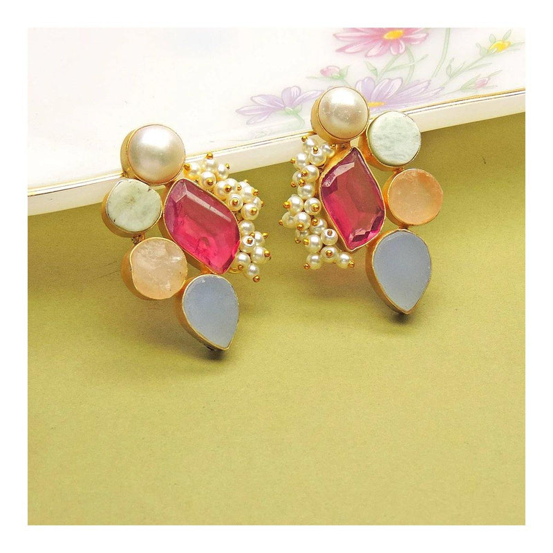 Festive Earrings in Amazonite & Rose Quartz | Handcrafted Jewellery | Dori