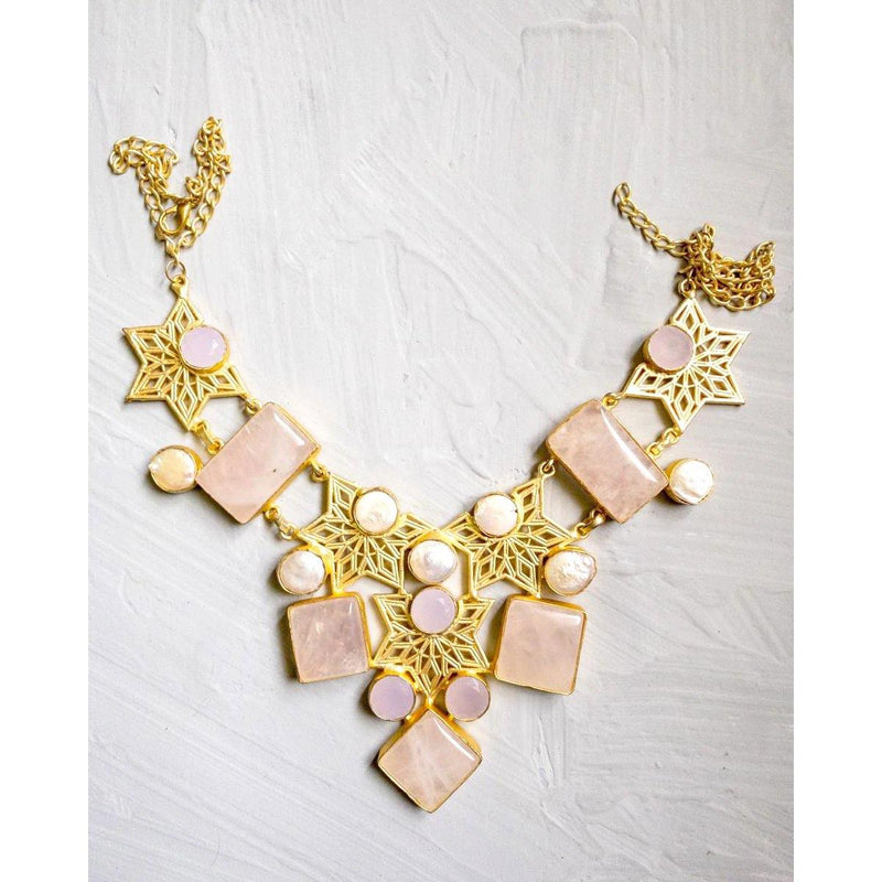 Filigree Necklace in Pearl & Rose Quartz | Handcrafted Jewellery | Dori