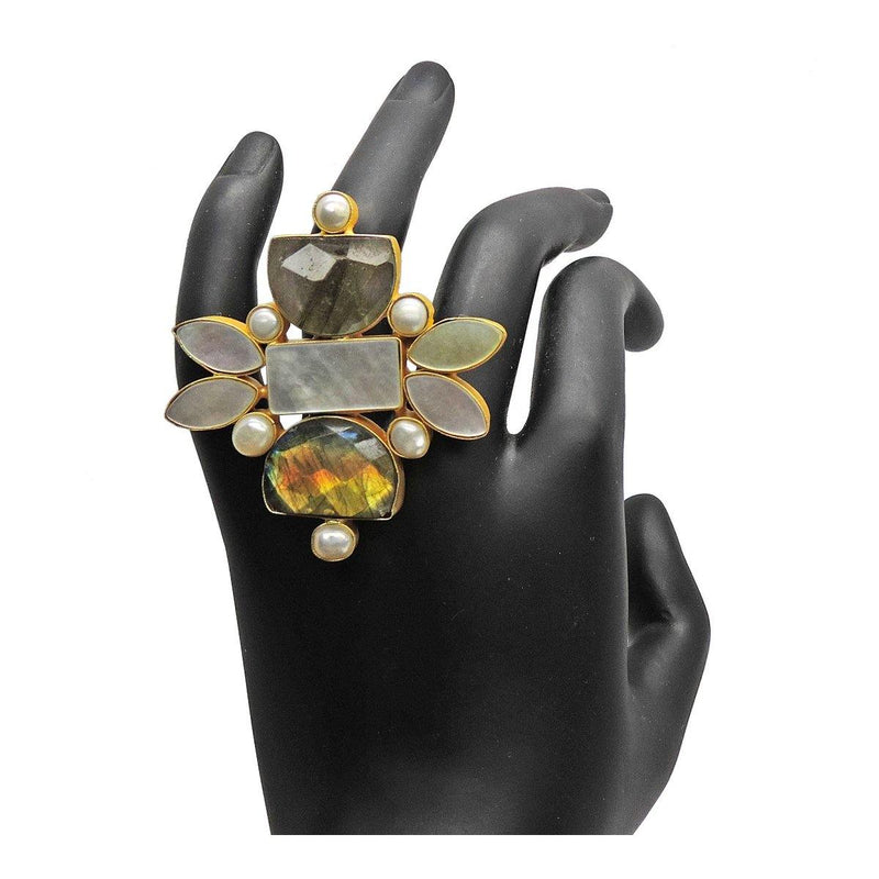 Firefly Ring in Labradorite & Pearl | Handcrafted Jewellery | Dori