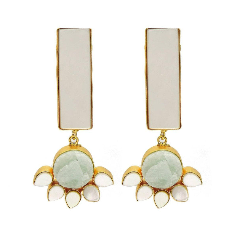 Flora Column Earrings in Amazonite & Pearl | Handcrafted Jewellery | Dori