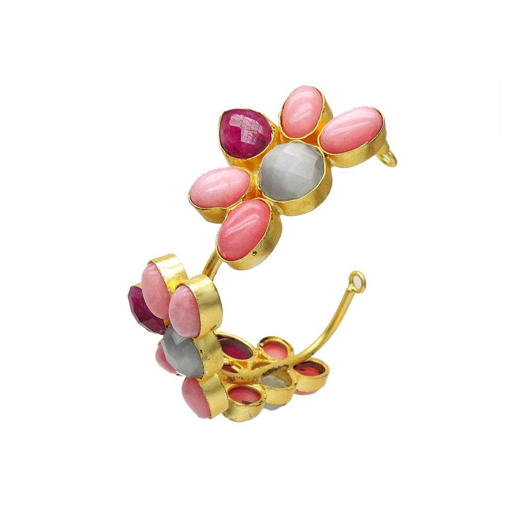 Floral Cuff in Pink Quartz & Ruby | Handcrafted Jewellery | Dori