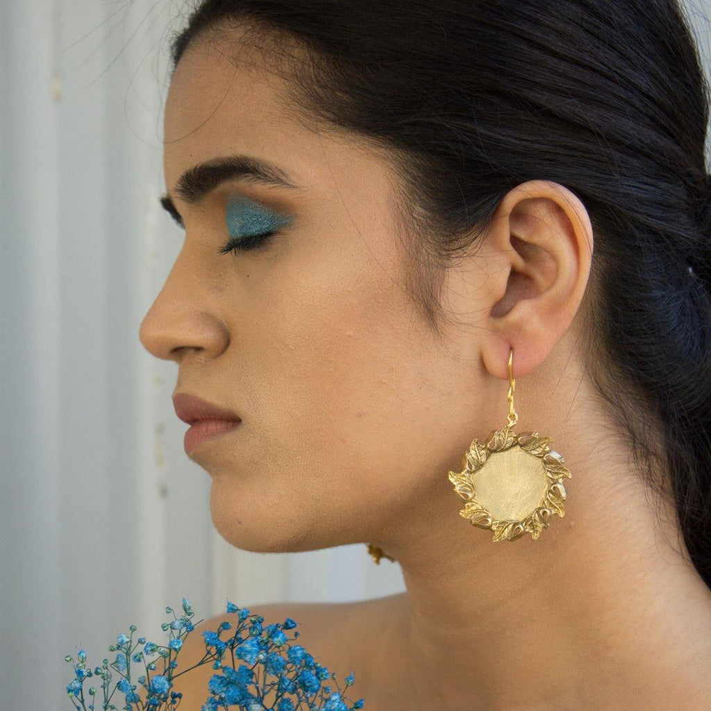 Vintage Floral Round Earrings | Handcrafted Jewellery | Aaree | Dori