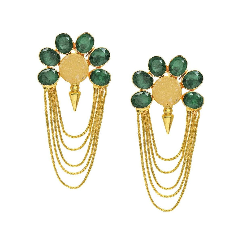 Isis Earrings in Emerald & Citrine | Handcrafted Jewellery | Dori
