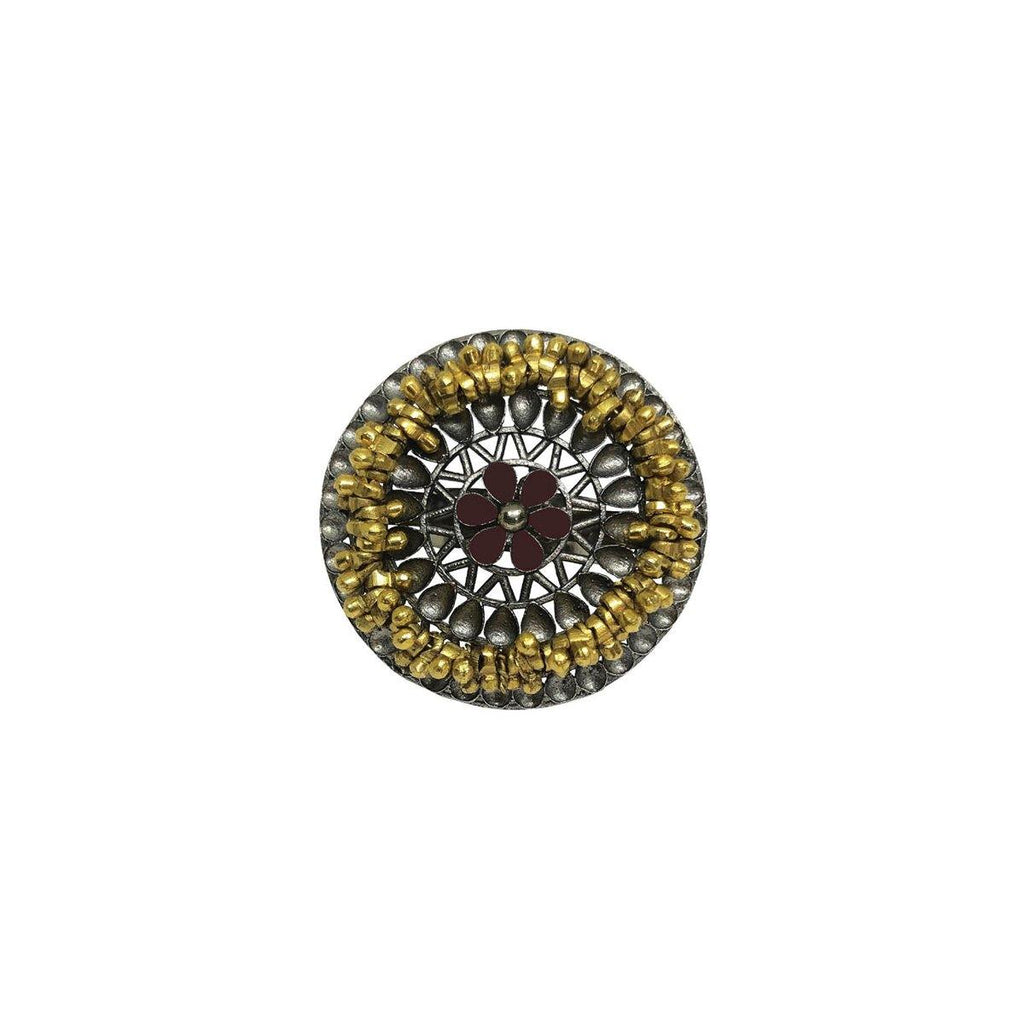 Mandala Ghungroo Ring in Garnet Red | Handcrafted Jewellery | Aaree | Dori