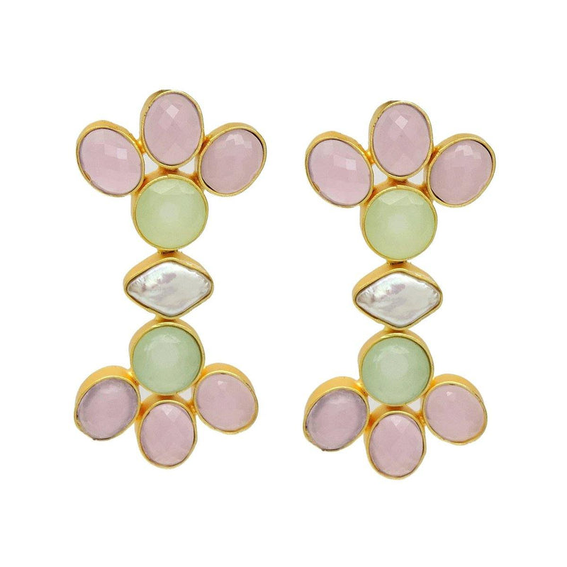 Melody Multi-Stone Earrings with Pearl | Handcrafted Jewellery | Dori