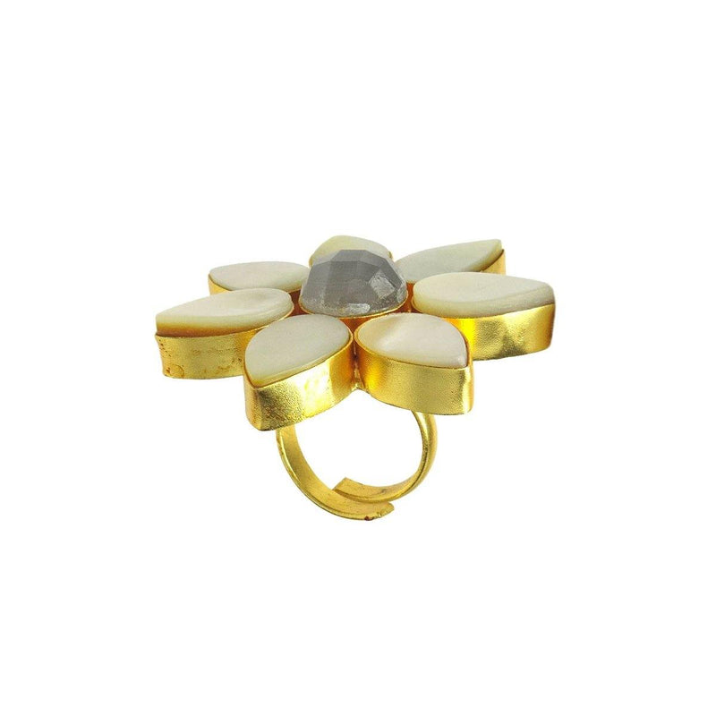 Mirror Ring in Monalisa & Pearl | Handcrafted Jewellery | Dori