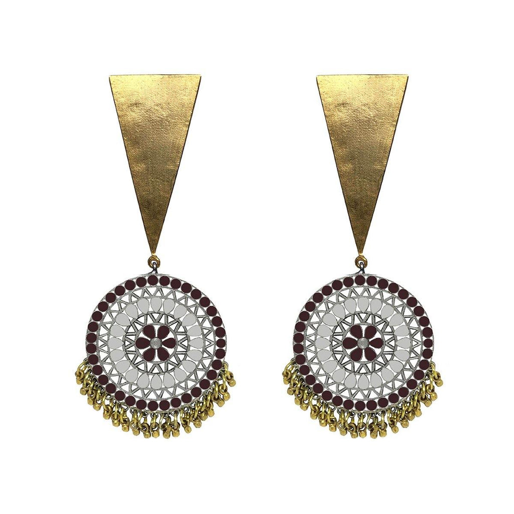 Modern Mandala Earrings in Garnet Red | Handcrafted Jewellery | Aaree | Dori