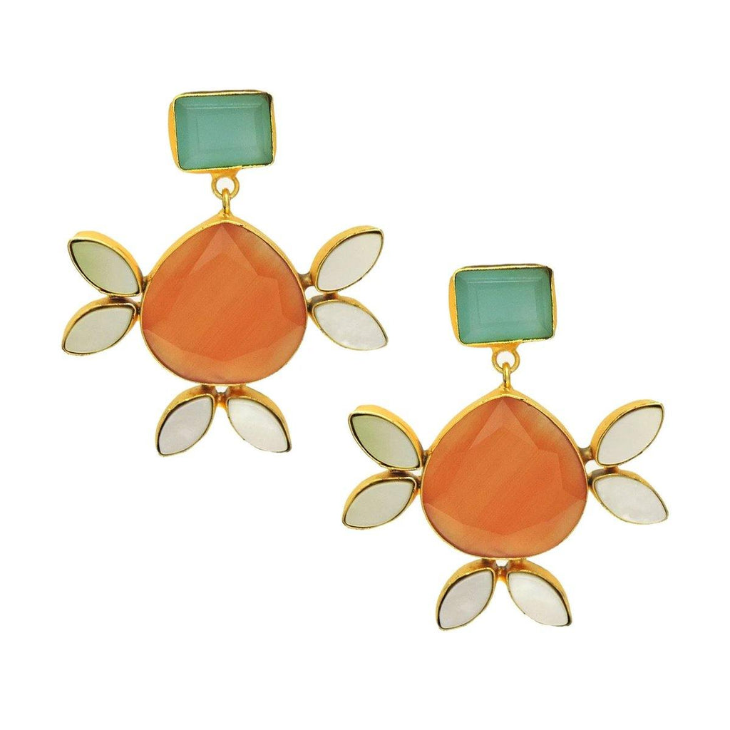 Orange Glamour Earrings | Handcrafted Jewellery | Dori