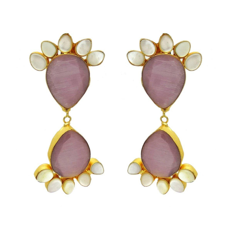 Plum Earrings in Monalisa & Pearl | Handcrafted Jewellery | Dori