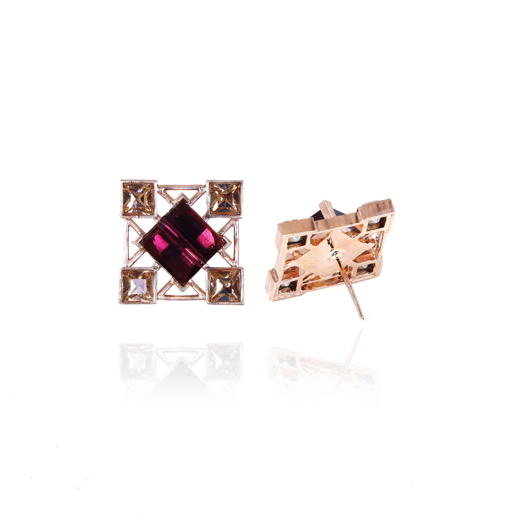Quadrille Earrings in Plum