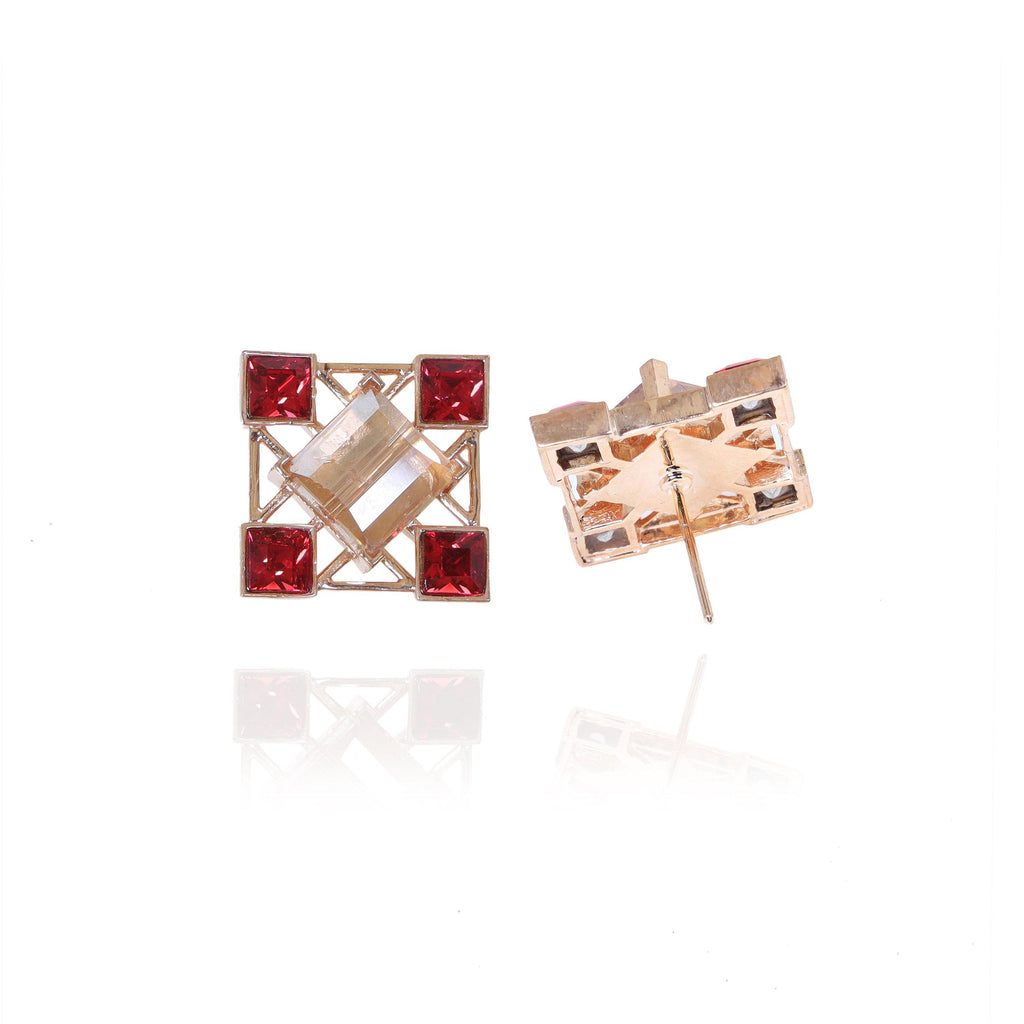 Quadrille Earrings in Crimson