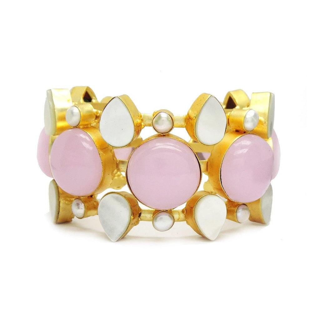 Rose Quartz, Mother of Pearl Bracelet | Handcrafted Jewellery | Dori
