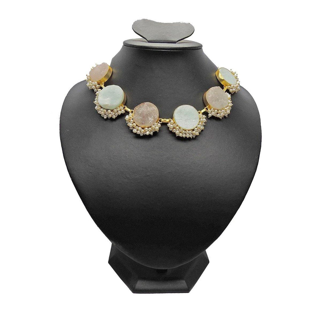 Classic Round Necklace in Amazonite & Rose  | Handcrafted Jewellery | Dori