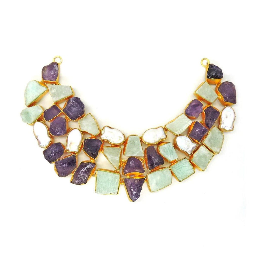 Statement Necklace in Amethyst & Amazonite | Handcrafted Jewellery | Dori
