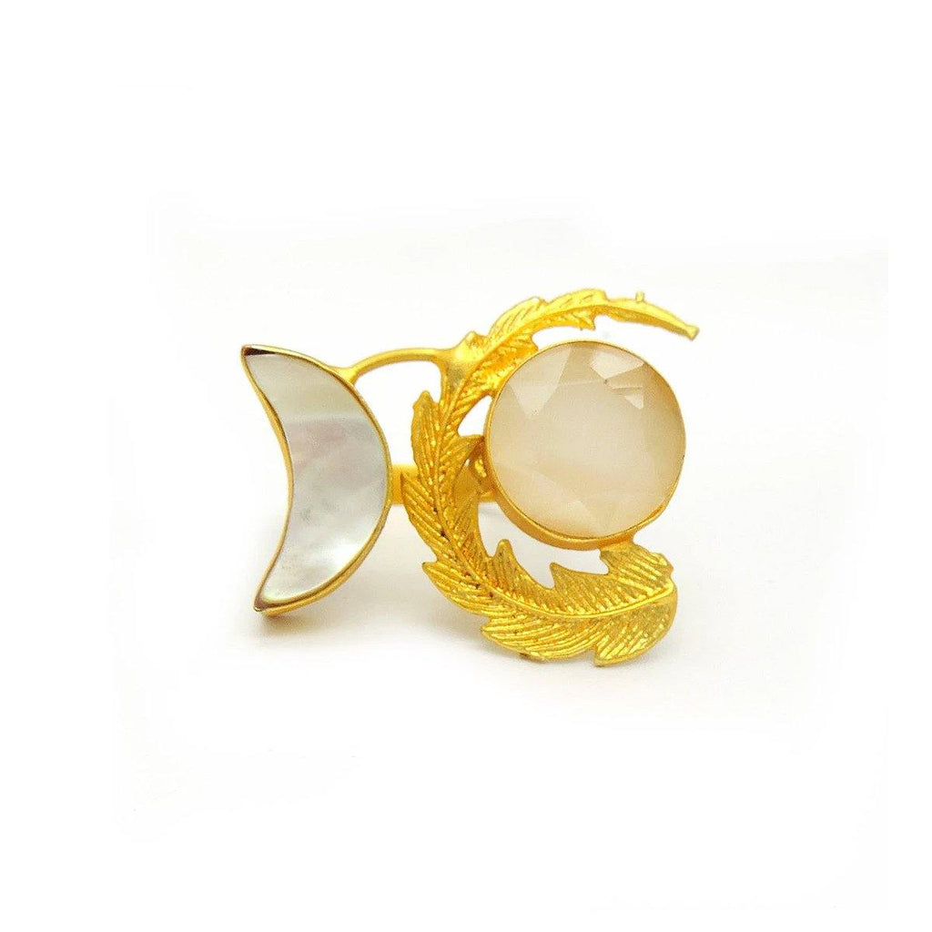 Sunrise Ring in Monalisa & Pearl | Handcrafted Jewellery | Dori
