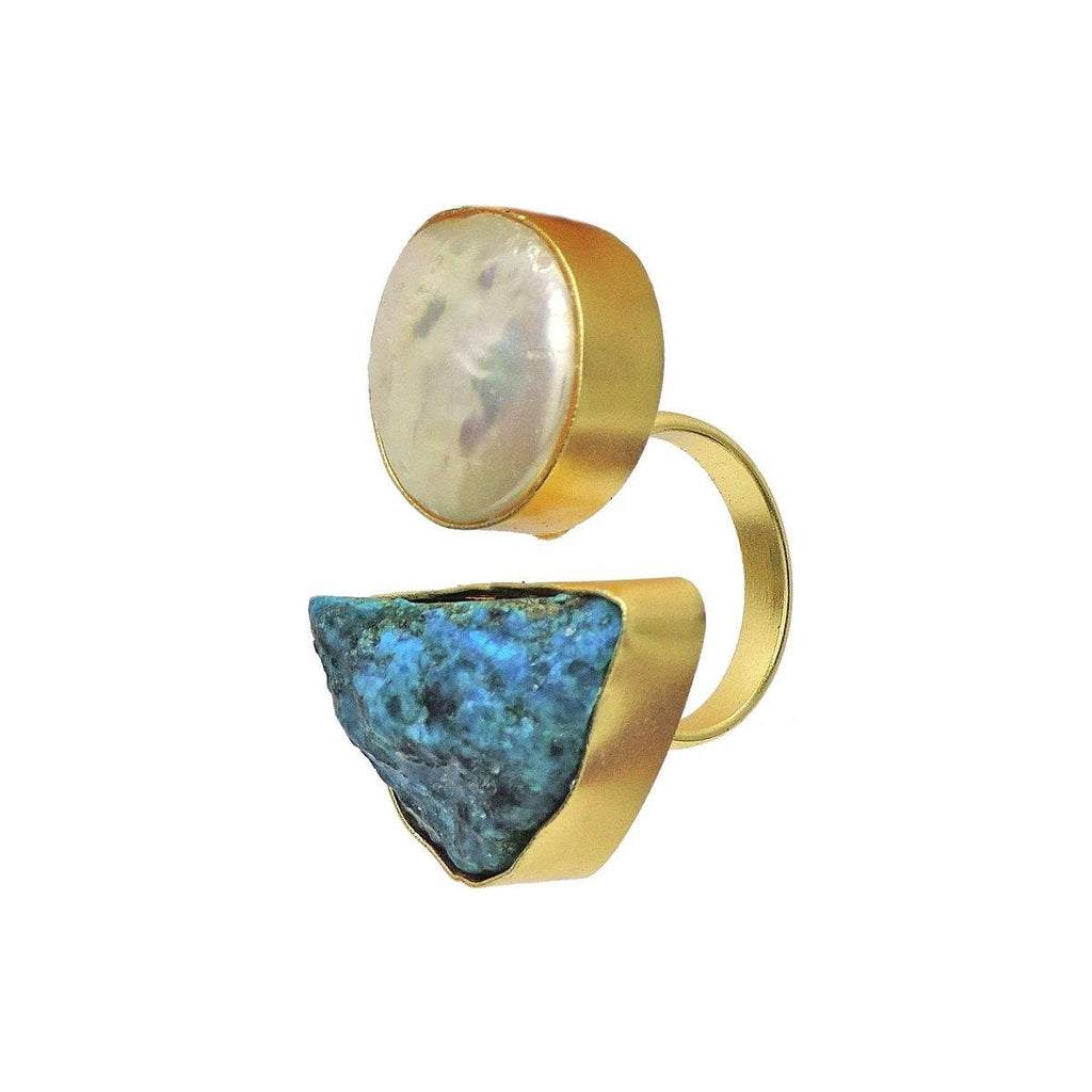 Turquoise & Pearl Ring | Handcrafted Jewellery | Dori