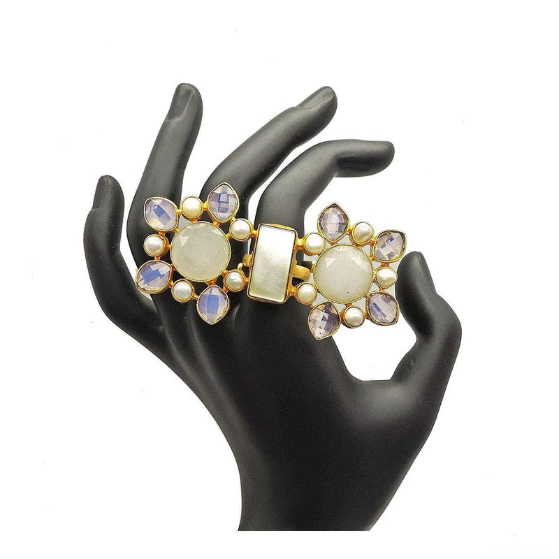 Twin Crystal Pearl Ring | Handcrafted Jewellery | Dori