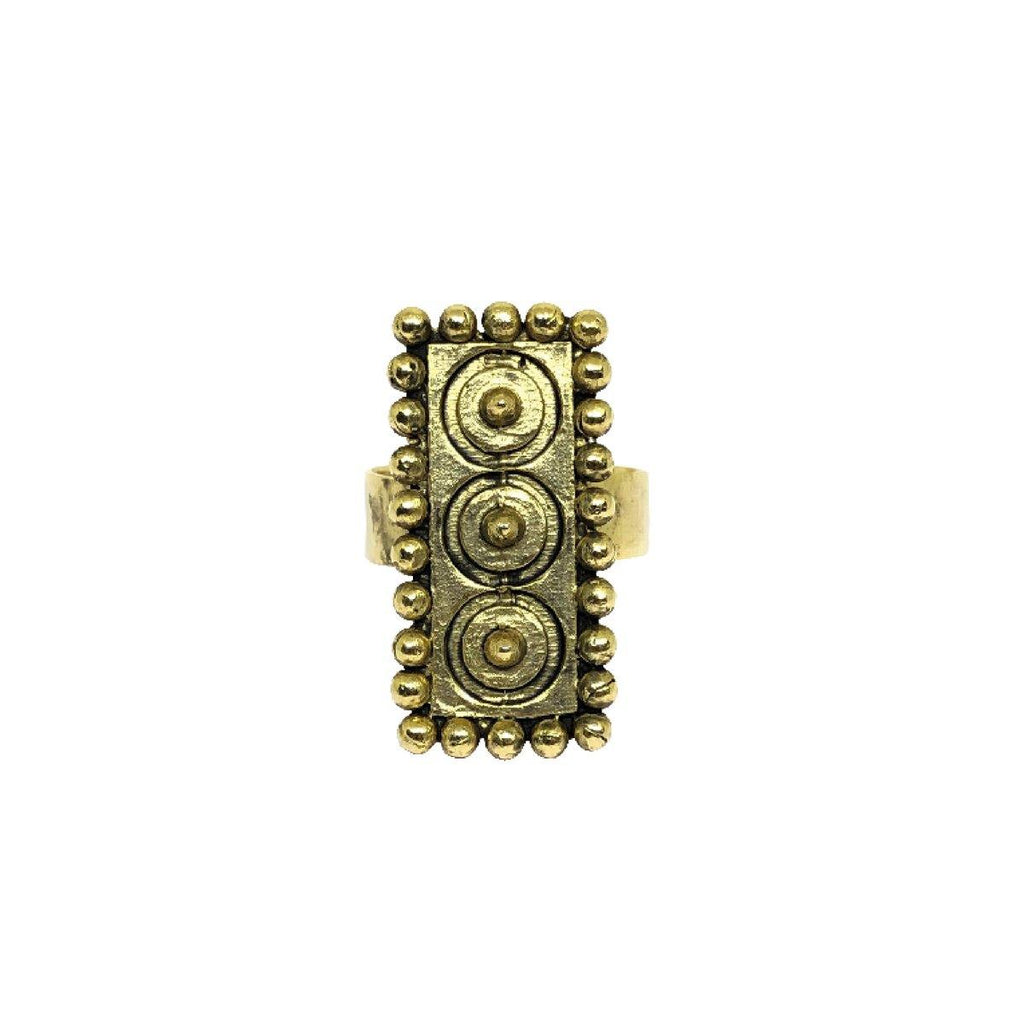 Vertical Dots & Circle Ring in Gold | Handcrafted Jewellery | Aaree | Dori
