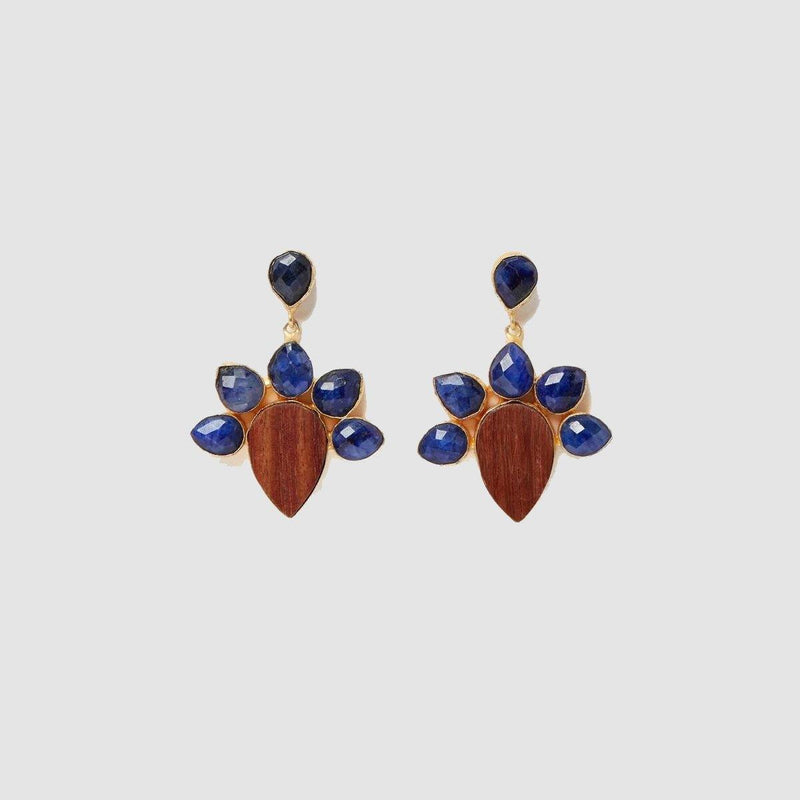 Wood, Lapis Lazuli Earrings | Handcrafted Jewellery | Dori