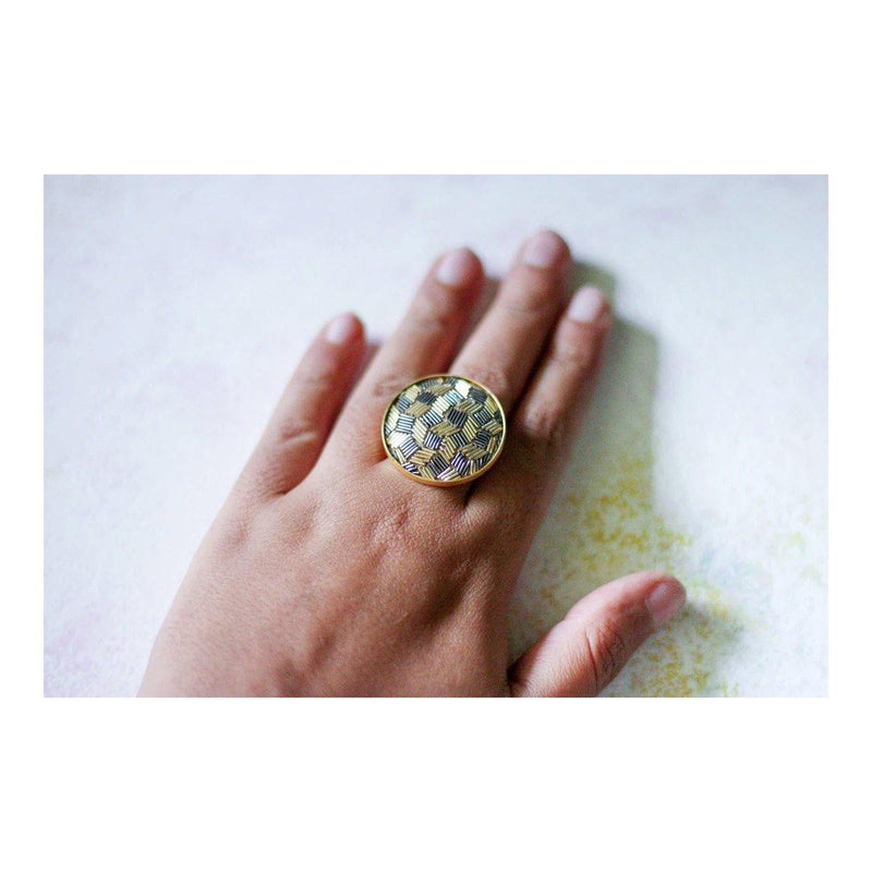 Zardosi Circle Ring | Handcrafted Jewellery | Dori
