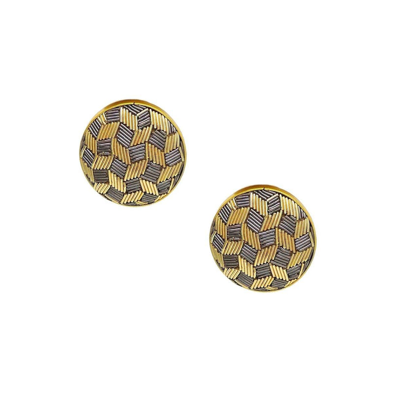 Classic Zardosi Stud Earrings | Handcrafted Jewellery | Dori