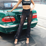 Fashion Black Lace High Waist Trousers