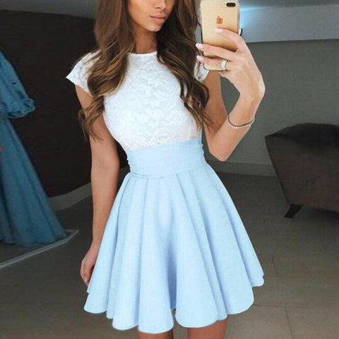 Women Fashion Round Neck Lace Dress