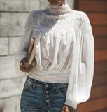 Fashion Long Sleeve Chiffon Blouses Shirt Crop Top