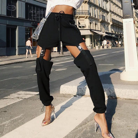 Fashion Black High Waist  Long Pants