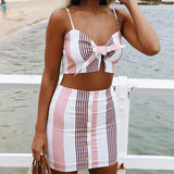 Sexy Print Sling Stripe Two-Piece Suit