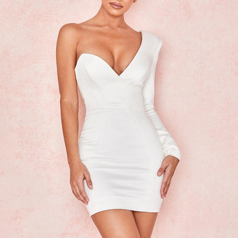 Fashion White V-Neck Long Sleeved Dress