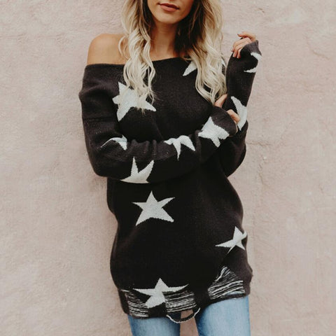 Fashion Knitting Print Star Sweater Top