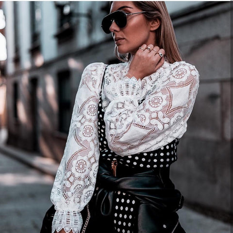 Sexy Long Sleeve Lace Top