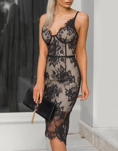 Embroidered Sexy V-Neck Lace Bodycon Dress